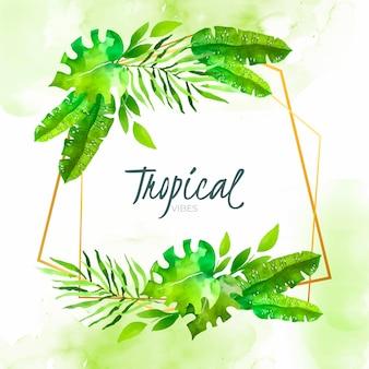 Акварельные тропические листья с золотой рамкой