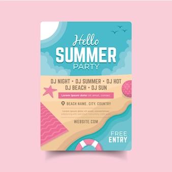 Плоский плакат летней вечеринки
