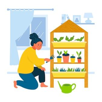 家でガーデニングを示すイラストの女性
