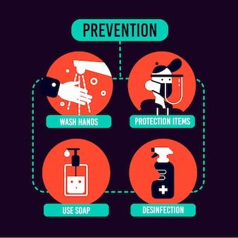 コロナウイルス予防インフォグラフィックテンプレート