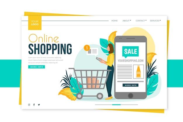 Плоский дизайн покупки онлайн шаблон целевой страницы