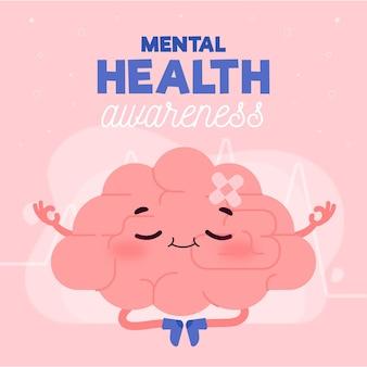 メンタルヘルスの意識と瞑想のコンセプト