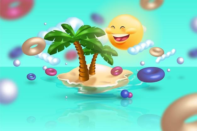 Реалистичная летняя концепция с пальмами