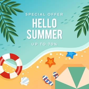 Плоский стиль привет летняя распродажа