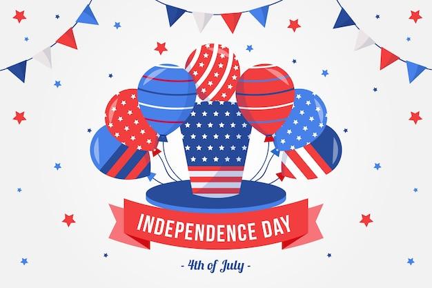 風船の背景を持つアメリカ独立記念日
