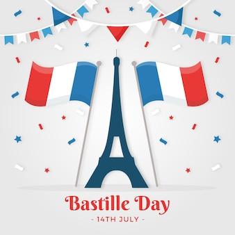 Плоский дизайн франция день взятия бастилии