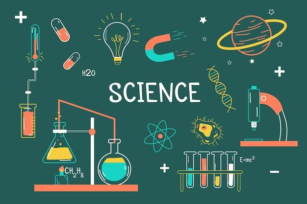 Нарисованный от руки фон науки