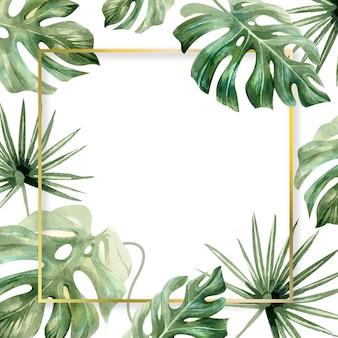 水彩画の葉の正方形のフレームコピースペース