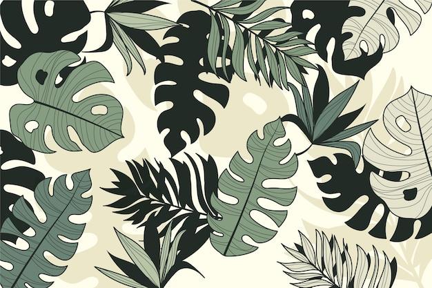 Линейный тропический стиль листьев