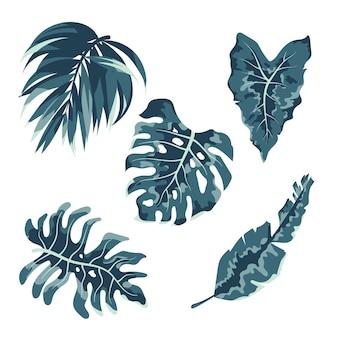 Коллекция однотонных тропических листьев