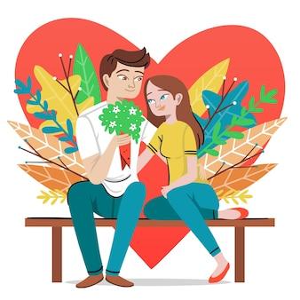 バレンタインの日を祝うカップル