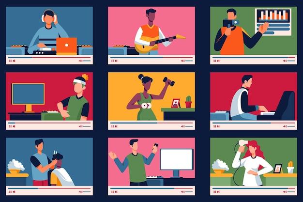 Блоггеры на экране коллекции