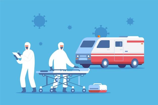 Носилки и машина скорой помощи