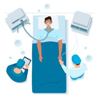 コロナウイルスの重要な患者のテーマ