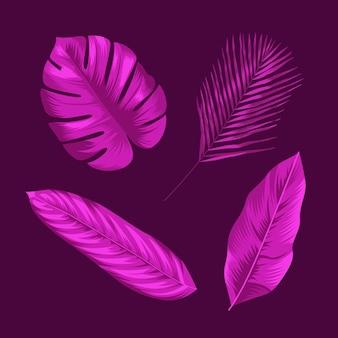 Монохромный дизайн тропических листьев
