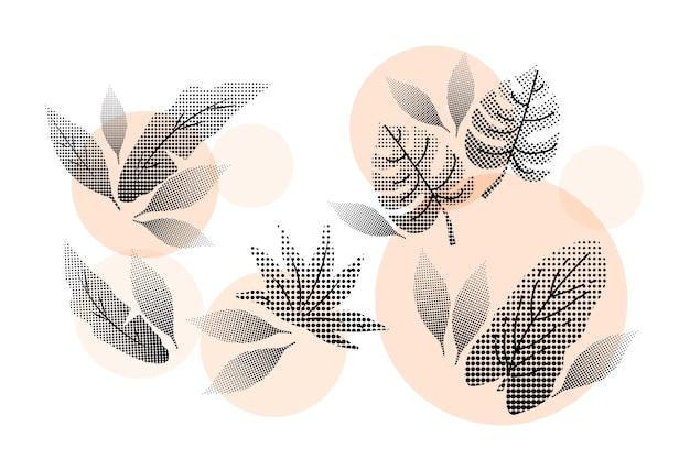 ハーフトーンピンクの熱帯の花と葉のセット