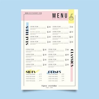 Тема шаблона меню ресторана