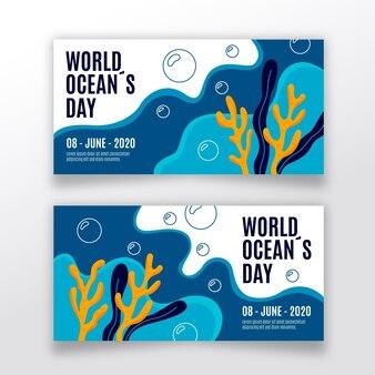 Набор рисованной баннеры день океана