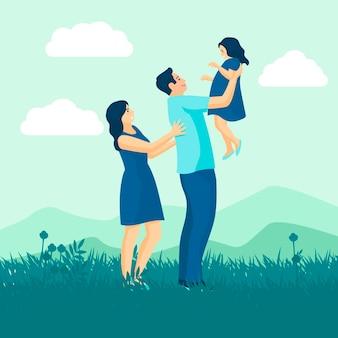 Семья наслаждается дизайном времени