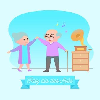 Старейшины бабушки и дедушки танцуют в помещении