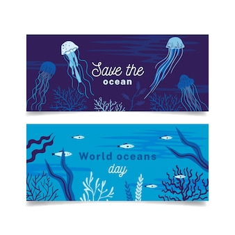 Плоский дизайн всемирный день океанов баннеры
