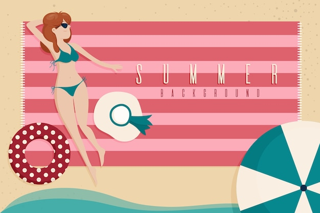 Плоский дизайн летний фон