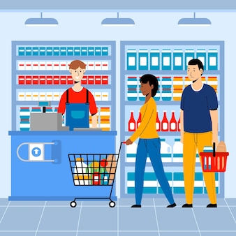 人々の食料品のデザインをショッピング