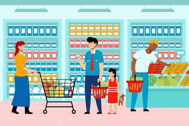 人々の食料品のテーマをショッピング