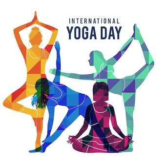 Плоский дизайн международный день йоги иллюстрации