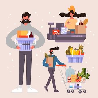 人々の食料品の買い物のコンセプト