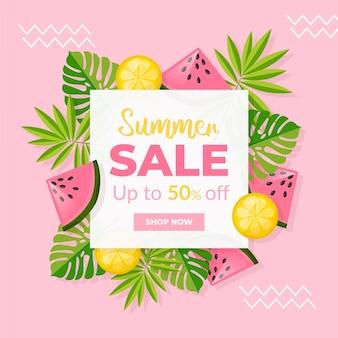 Летняя распродажа плоский дизайн с фруктами