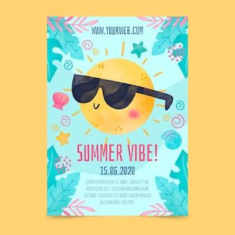 Акварель летняя вечеринка постер