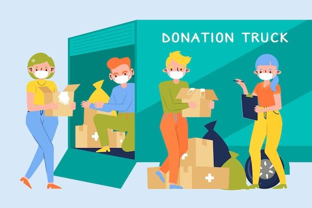 衛生材料を寄付する人々