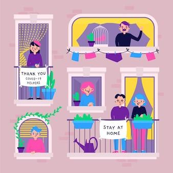 Люди на окнах в карантине
