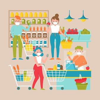 食料品を買い物する人々