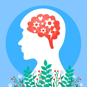メンタルヘルス意識のコンセプトと花