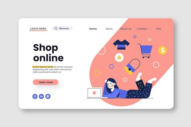 Плоский дизайн интернет-магазина шаблон целевой страницы