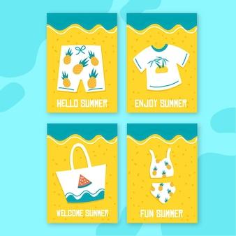 Шаблон нарисованные летние открытки