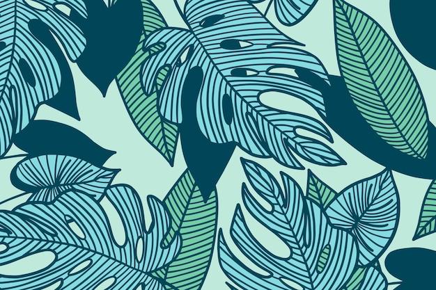 パステルカラーの線形熱帯の葉