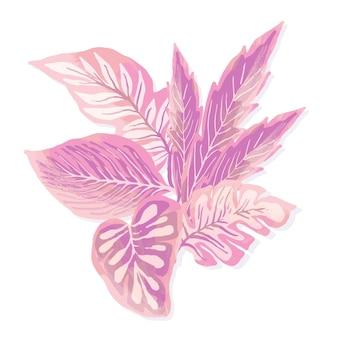 単色デザインの熱帯の葉