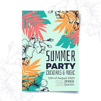 Тропическая вечеринка дизайн шаблона плаката