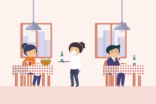 Социальное дистанцирование в ресторане