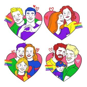 Пары и семьи празднуют день гордости