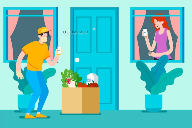 ドアでの安全な食品配達