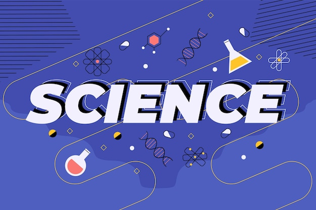 暗い青色の背景の概念上の科学の言葉