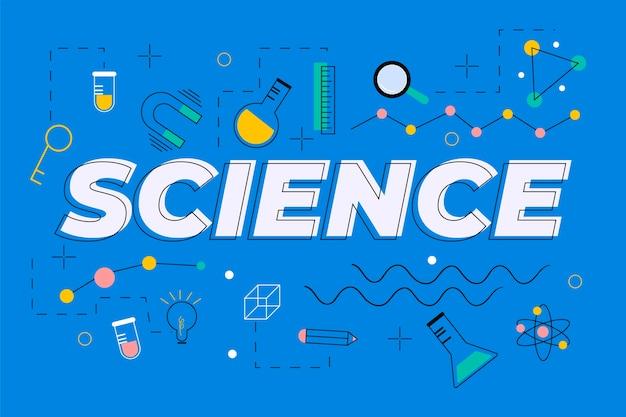 青色の背景の概念上の科学の言葉