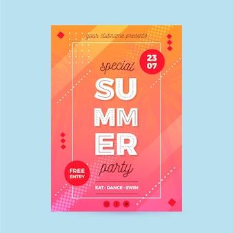 Постер летней вечеринки с плоским дизайном
