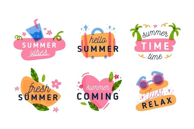 フラットなデザインの夏ラベルのコレクション