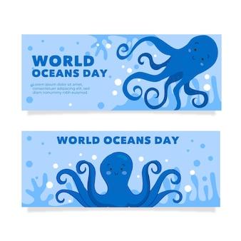 Нарисованное рукой знамя дня мирового океана стиля
