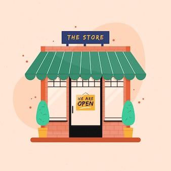 私たちが開いている看板のあるお店